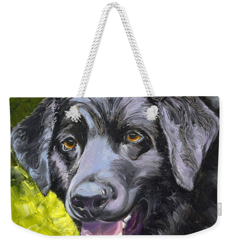 Labrador Retriever Weekender Tote Bag featuring the painting Lab Out Of The Pond by Susan A Becker