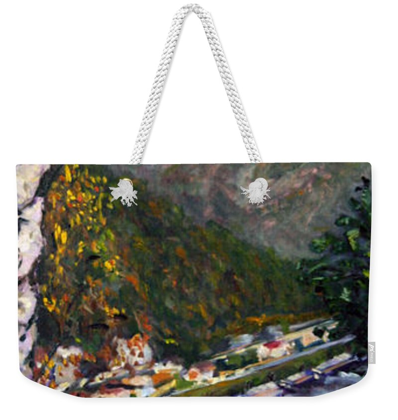 Landscape Weekender Tote Bag featuring the painting Labske Udoli by Pablo de Choros