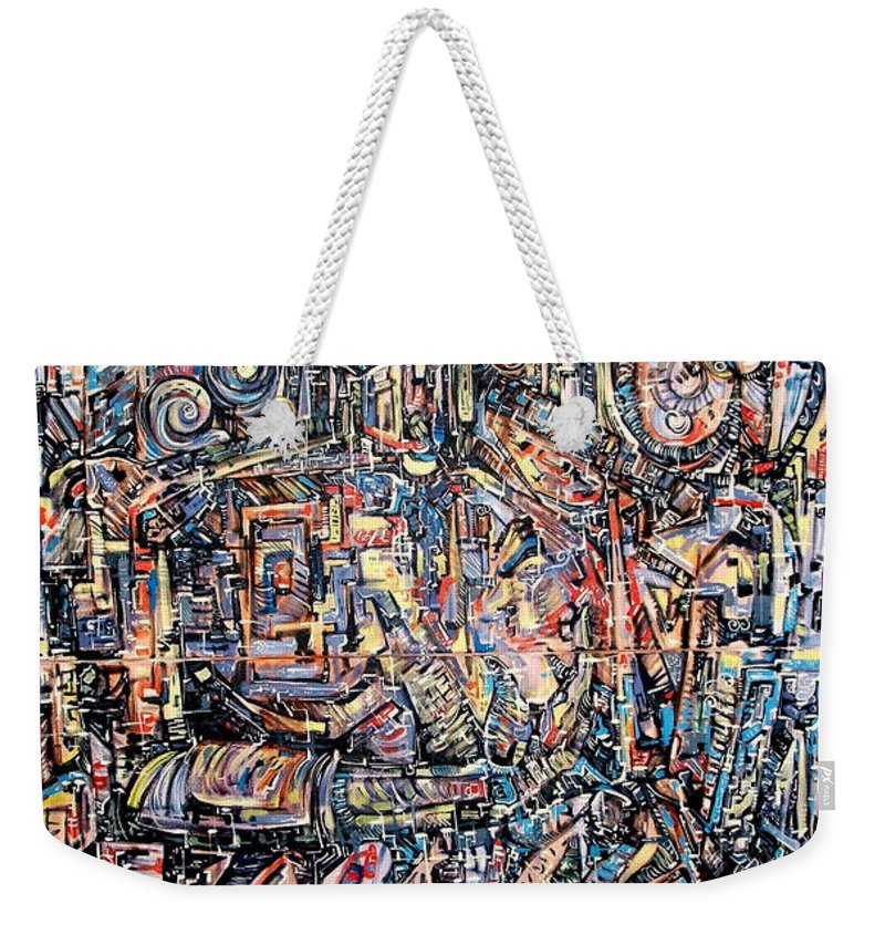 Surrealism Weekender Tote Bag featuring the painting Labyrinth Of Sorrows by Darwin Leon