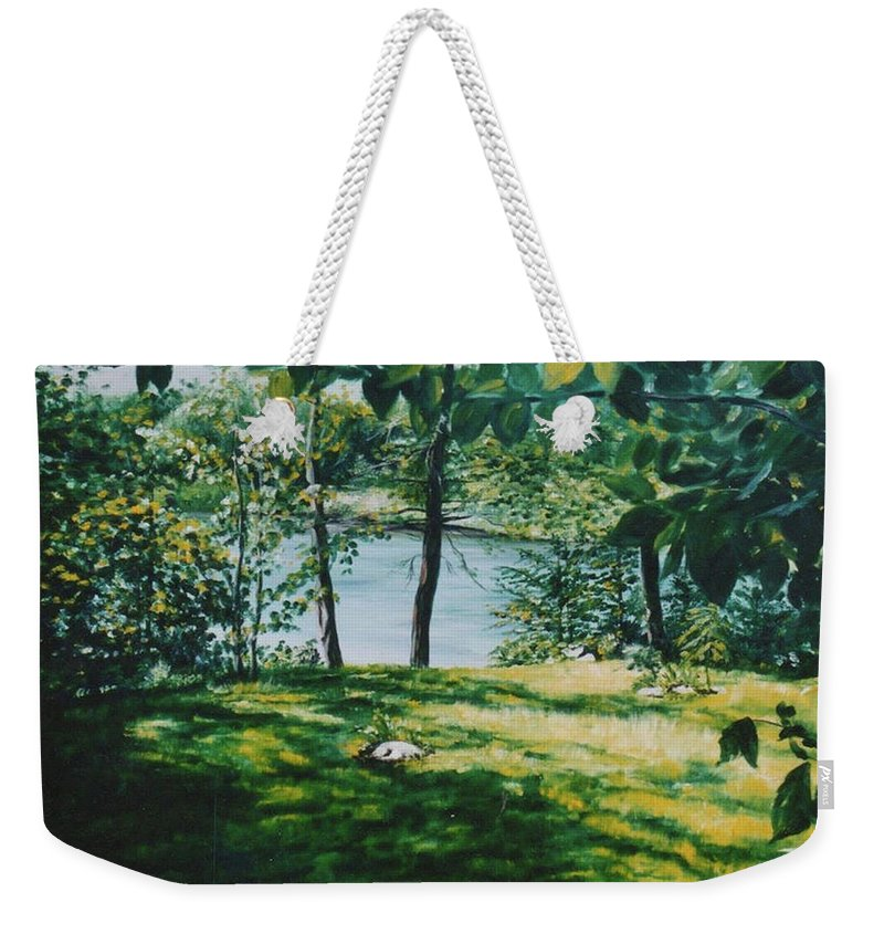 Landscape Weekender Tote Bag featuring the painting Lac D'aigle by Marianne AUZOL