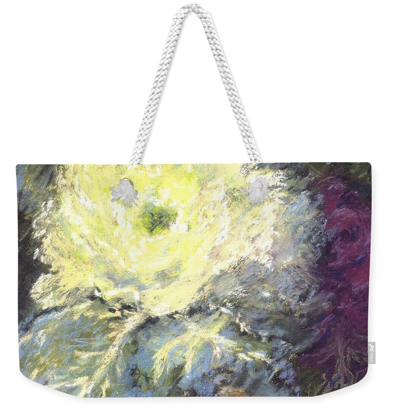 Still Life Cabbage Weekender Tote Bag featuring the pastel Lace Curtin Cabbage by Pat Snook