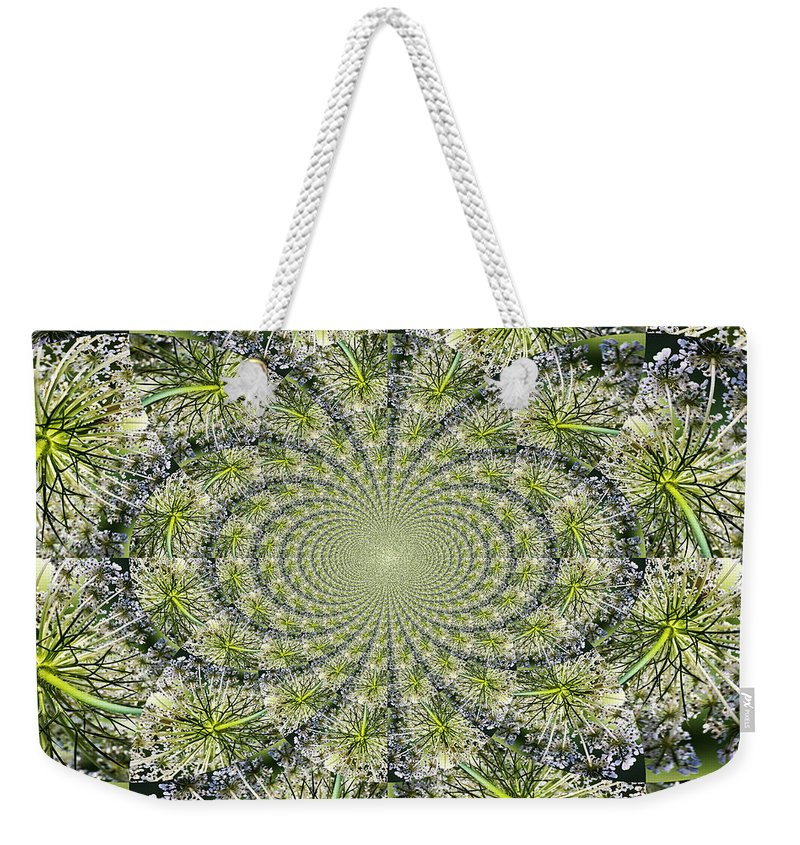 Kaleidoscope Weekender Tote Bag featuring the photograph Lacey Kaleidoscope by Teresa Mucha