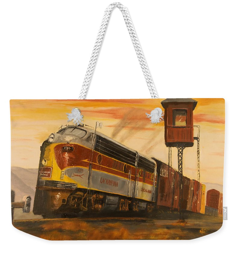 Lackawanna Weekender Tote Bag featuring the painting Lackawanna Fast Freight by Christopher Jenkins