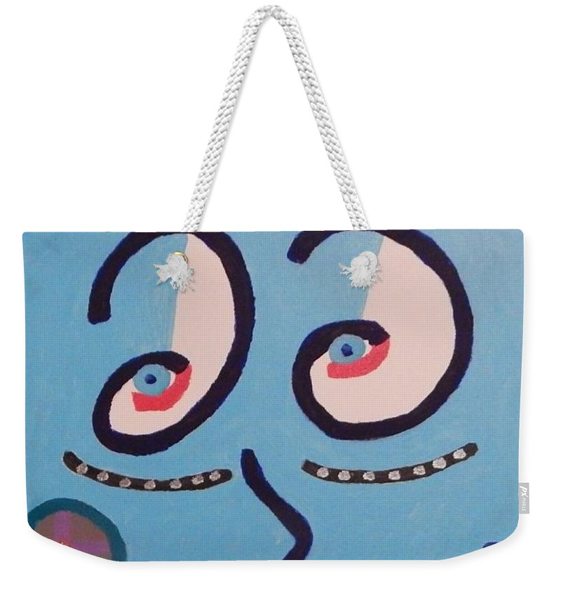 Abstract Face Weekender Tote Bag featuring the painting Lacy by Dennis Young