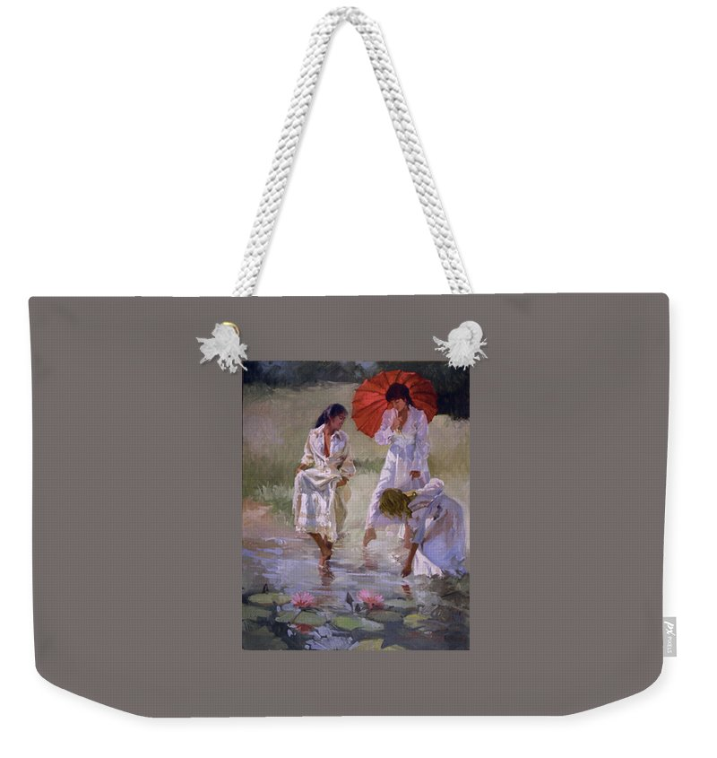 Figurative Weekender Tote Bag featuring the painting Ladies And Lilies by Betty Jean Billups