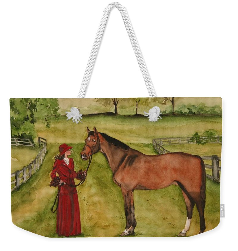 Horse Weekender Tote Bag featuring the painting Lady And Horse by Jean Blackmer