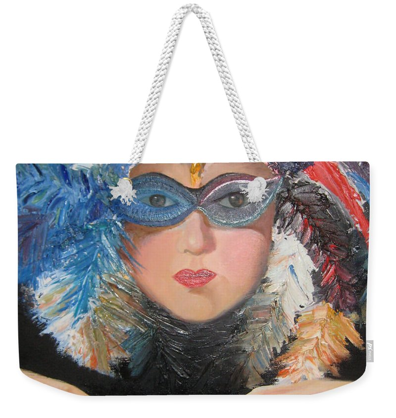 A Face With A Venetian Mask With Feathers And Hands On The Sides Weekender Tote Bag featuring the painting Lady At A Carvinal by Maria Kobalyan