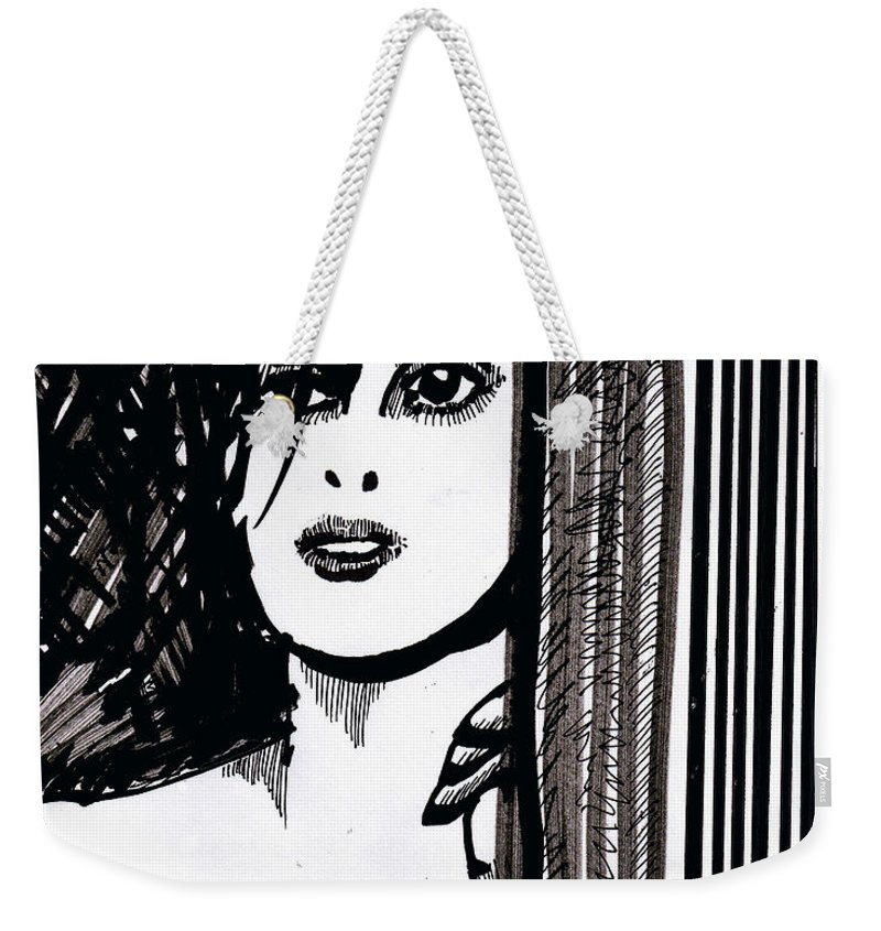 Sad Lady Weekender Tote Bag featuring the drawing Lady at the Door by Seth Weaver