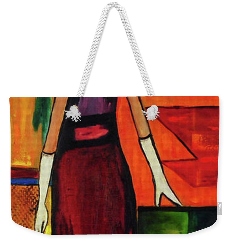 Dog Weekender Tote Bag featuring the painting Bichon Frise Lady by Carolyn Shireman