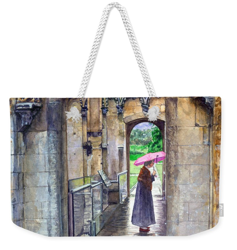 Glastonbury Weekender Tote Bag featuring the painting Lady Chapel by John D Benson