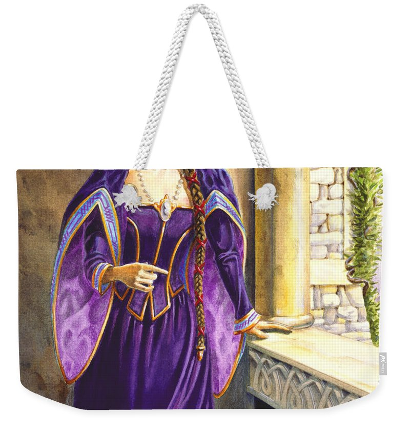 Camelot Weekender Tote Bag featuring the painting Lady Ettard by Melissa A Benson