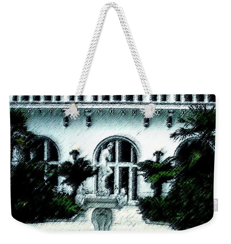 Lady Weekender Tote Bag featuring the mixed media Lady Fountain by Shirley Heyn