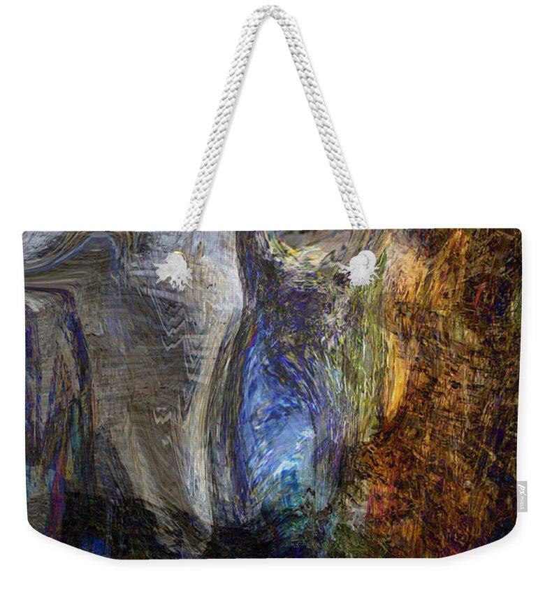 Abstract Art Weekender Tote Bag featuring the digital art Lady In Blue by Linda Sannuti