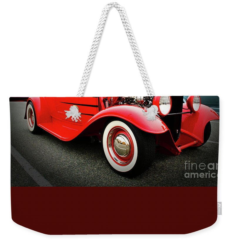 Pow Wow Weekender Tote Bag featuring the photograph Pow Wow Lady In Red by Bob Christopher