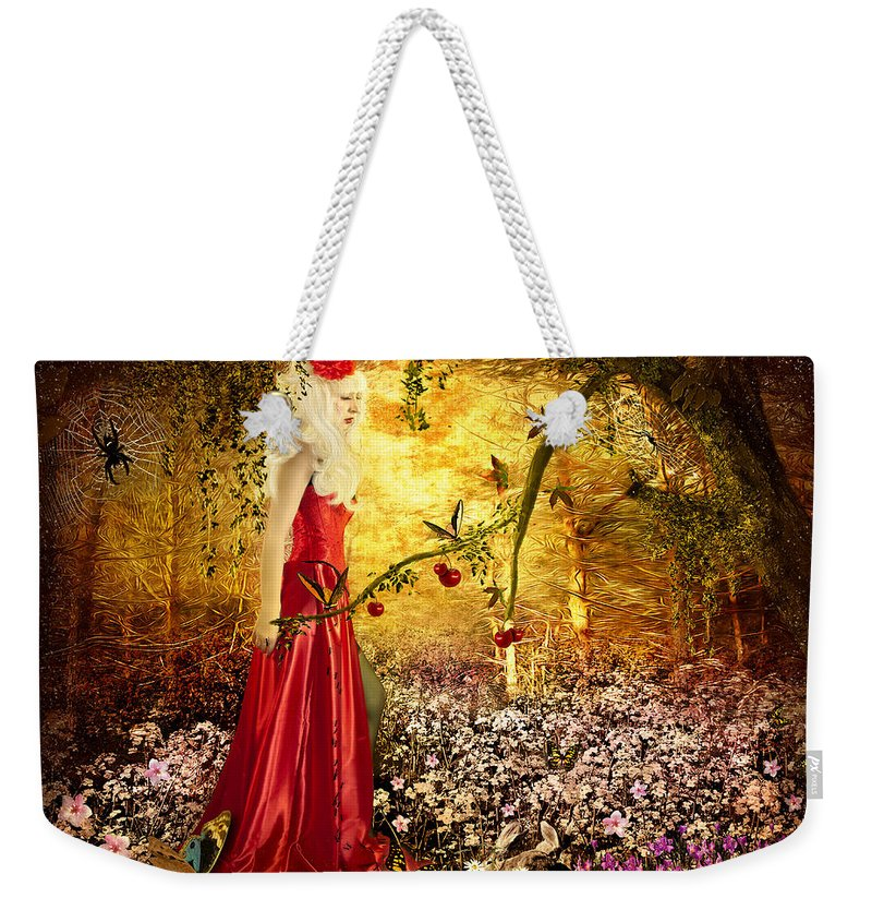 Girl Weekender Tote Bag featuring the digital art Lady In Red by Svetlana Sewell