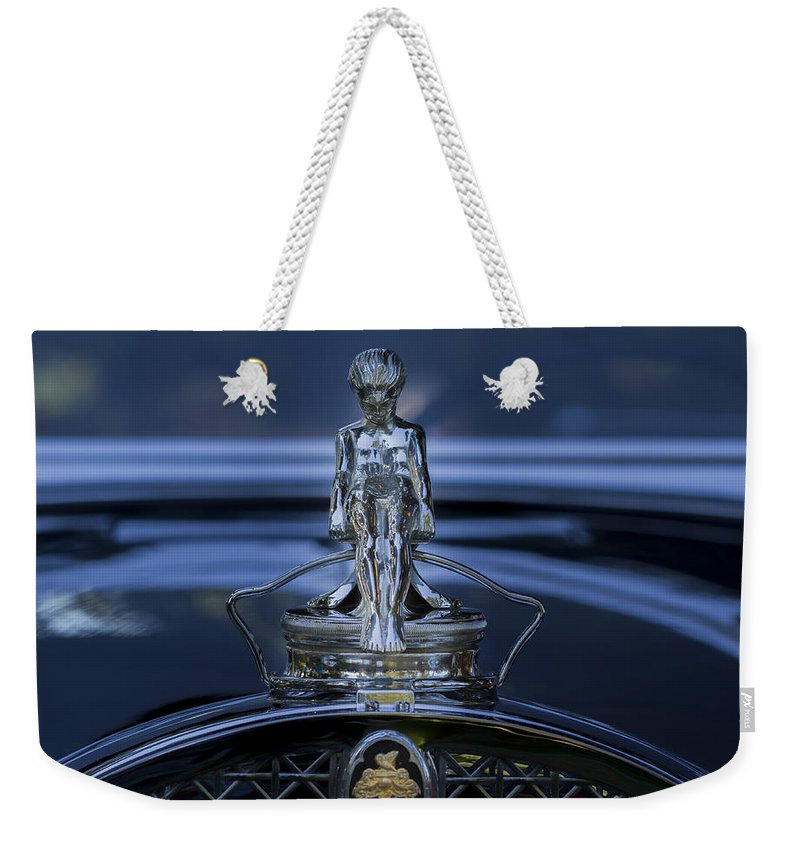 Car Weekender Tote Bag featuring the photograph Shadowed Sliding Boy by Jean Noren