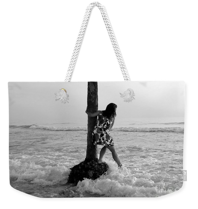 Beach Weekender Tote Bag featuring the photograph Lady In The Surf by David Lee Thompson