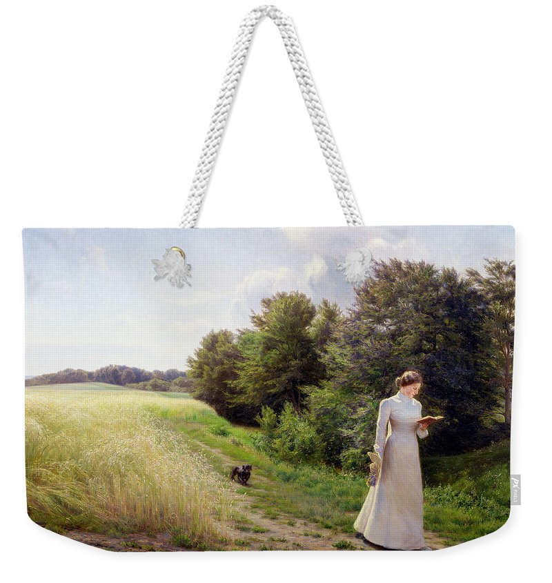 Lady Weekender Tote Bag featuring the painting Lady In White Reading by Emilie Caroline Mundt