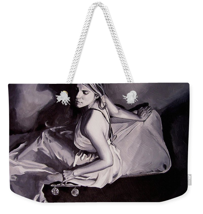 Law Art Weekender Tote Bag featuring the painting Lady Justice Black And White by Laura Pierre-Louis