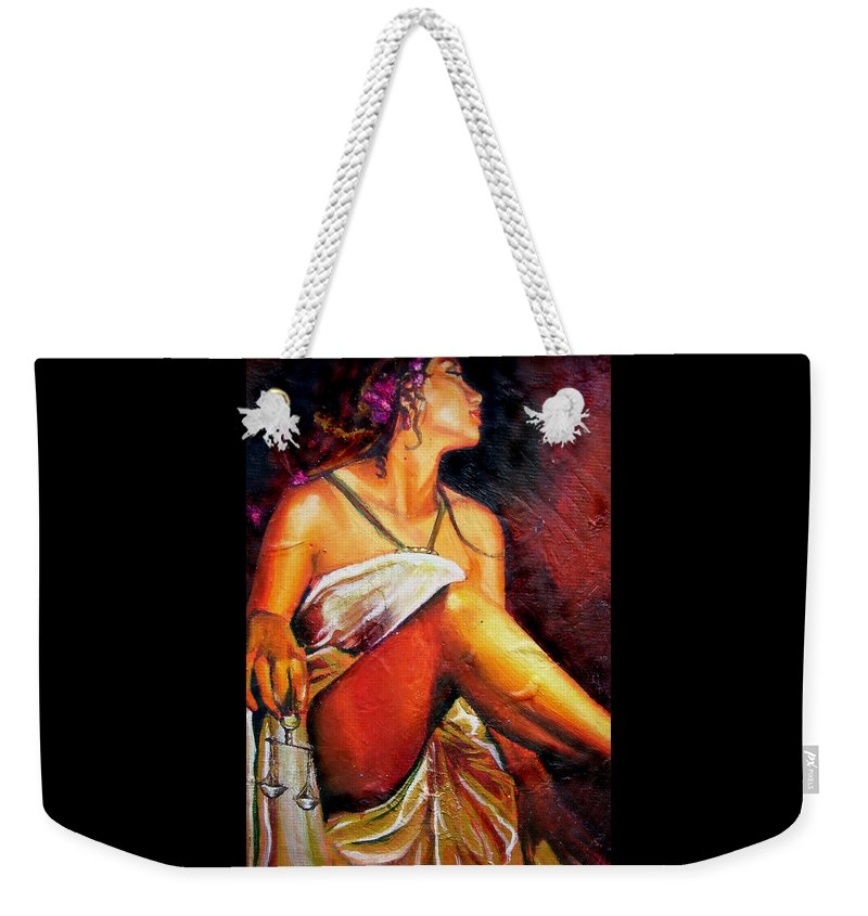 Law Art Weekender Tote Bag featuring the painting Lady Justice Mini by Laura Pierre-Louis