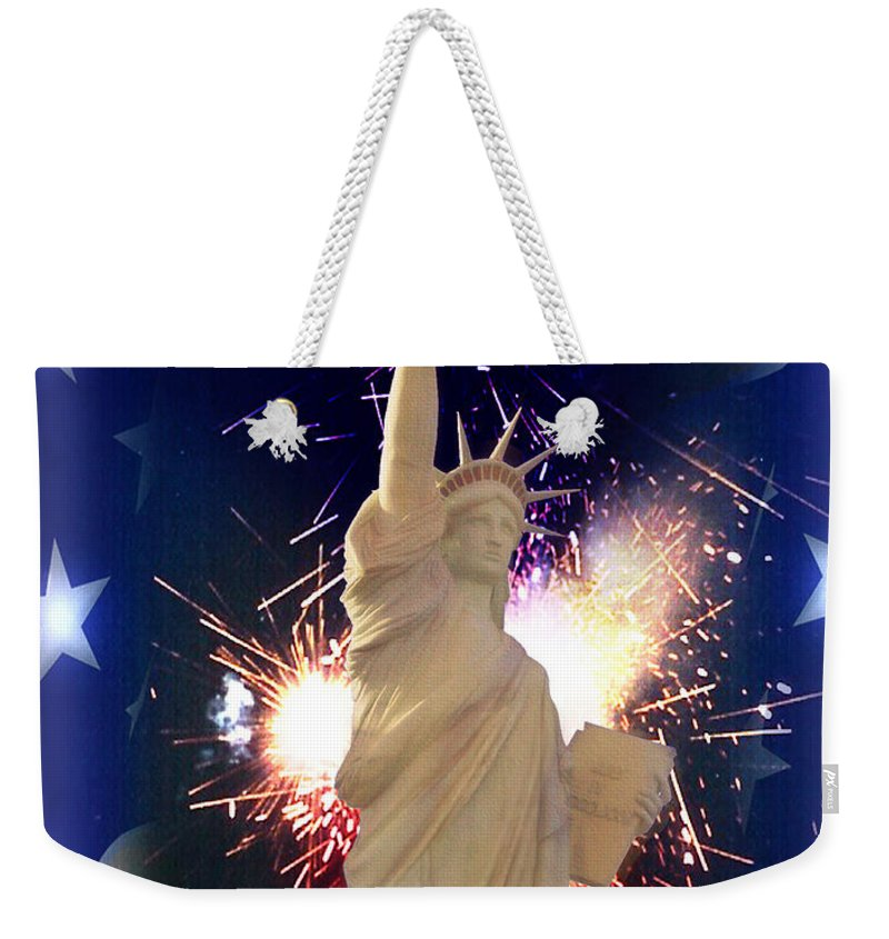 Independence Day Weekender Tote Bag featuring the digital art Lady Liberty by Gravityx9 Designs
