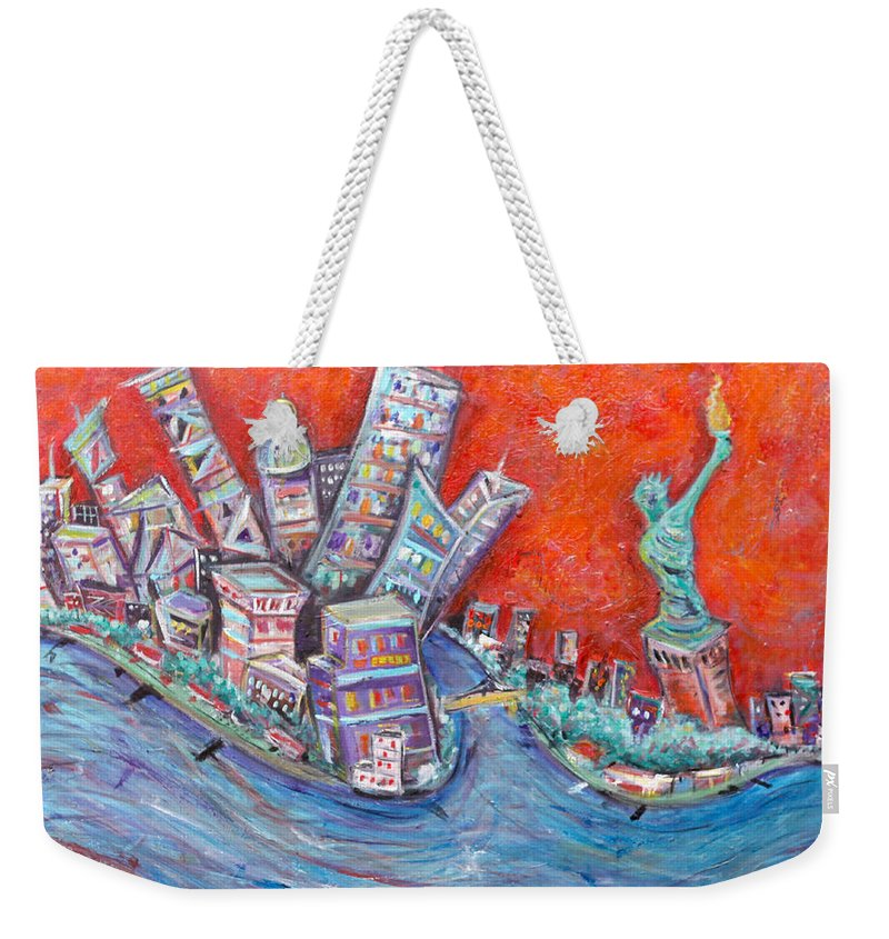 Statue Of Liberty New York City Wall Steet Manhattan Hudson River New Jersey State Park Ellis Island Weekender Tote Bag featuring the painting Lady Liberty by Jason Gluskin