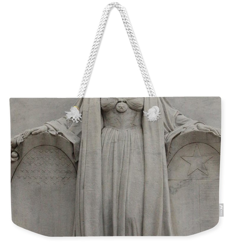 Alamo Weekender Tote Bag featuring the photograph Lady Liberty On Alamo Monument by Carol Groenen