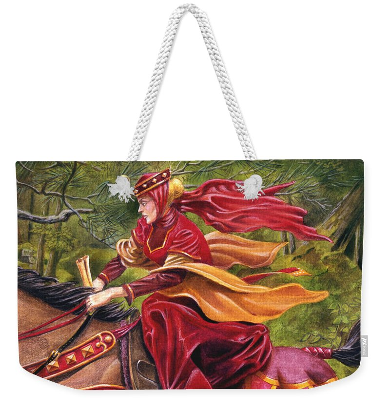 Camelot Weekender Tote Bag featuring the painting Lady Lunete by Melissa A Benson