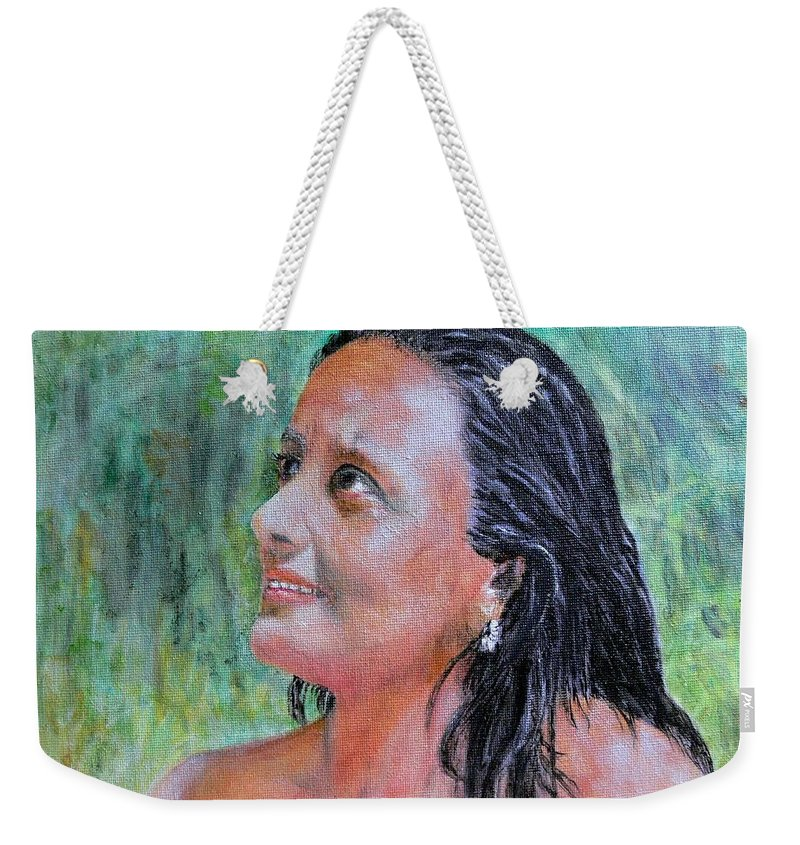 Lady Weekender Tote Bag featuring the painting Lady Of India by Helmut Rottler
