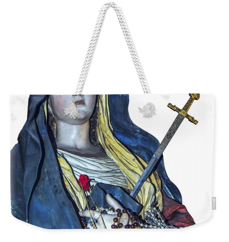 Lady Of Sorrows T-shirt Weekender Tote Bag featuring the photograph Lady Of Sorrows T-shirt by Isam Awad