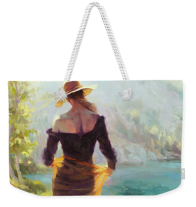 Woman Weekender Tote Bag featuring the painting Lady of the Lake by Steve Henderson