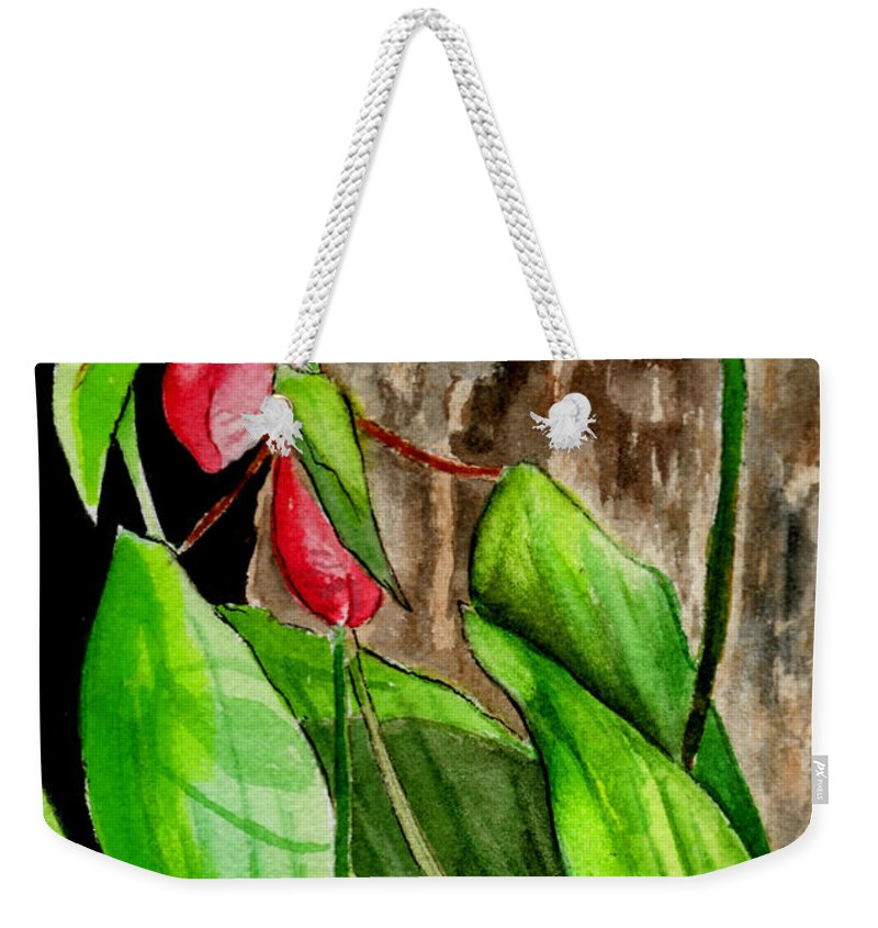 Watercolor Weekender Tote Bag featuring the painting Lady Slippers by Brenda Owen
