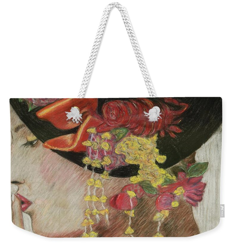 Lady With Hat Weekender Tote Bag featuring the drawing Lady With Hat by Jacqueline Athmann