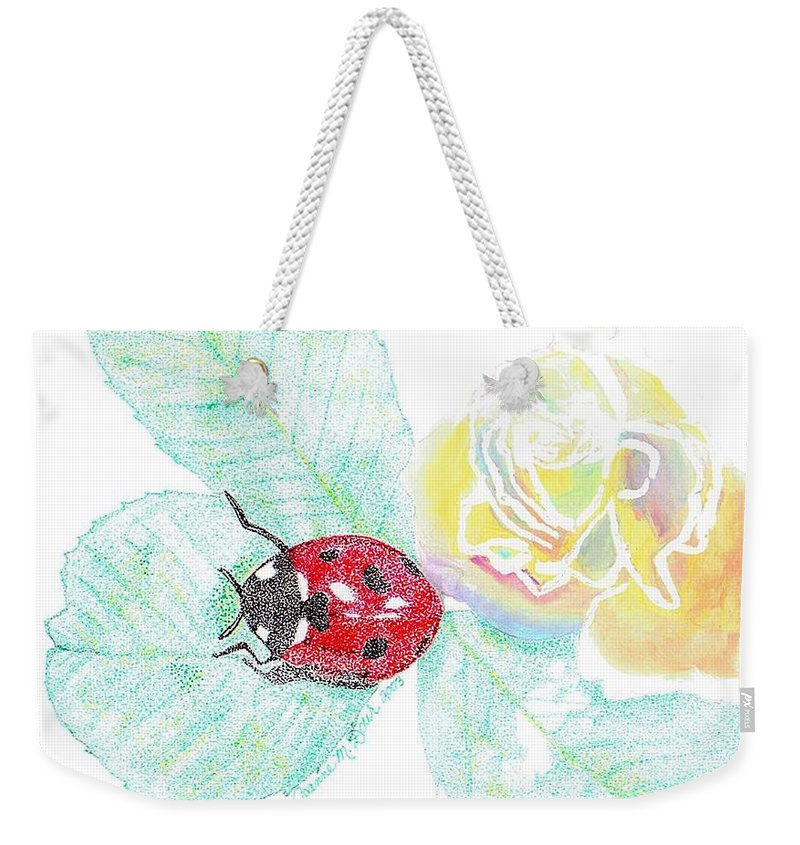 Rose And Ladybug Weekender Tote Bag featuring the drawing Ladybug by Joanne Dour