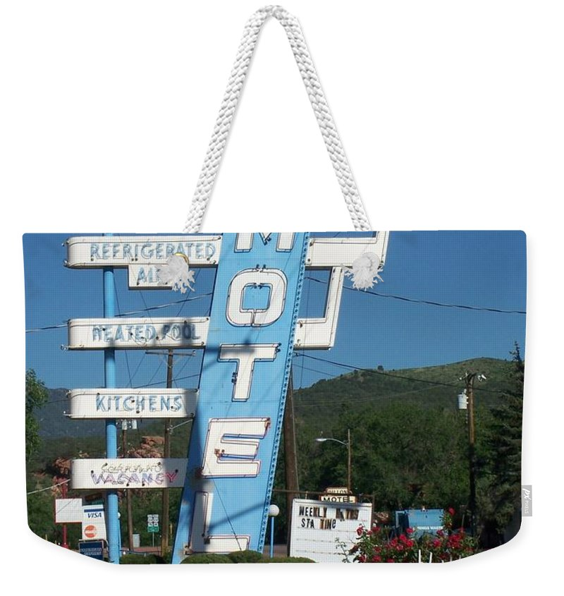 Vintage Motel Signs Weekender Tote Bag featuring the photograph Lafon Motel by Anita Burgermeister