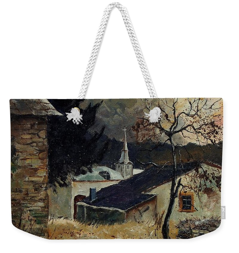Tree Weekender Tote Bag featuring the painting Laforet Ardennes Village by Pol Ledent