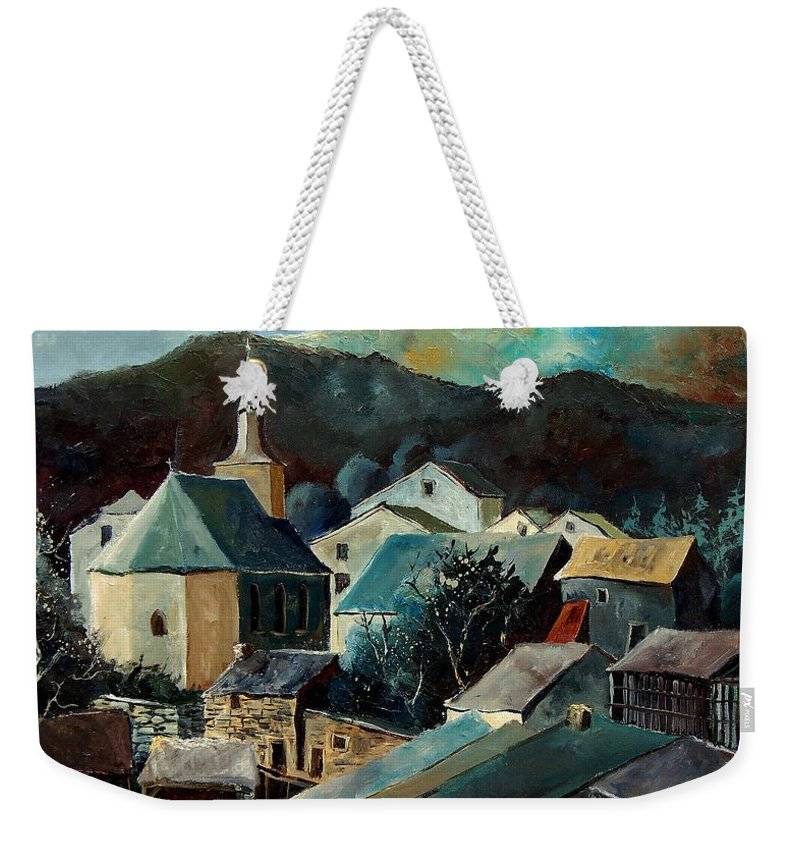 Landscape Weekender Tote Bag featuring the painting Laforet Village by Pol Ledent