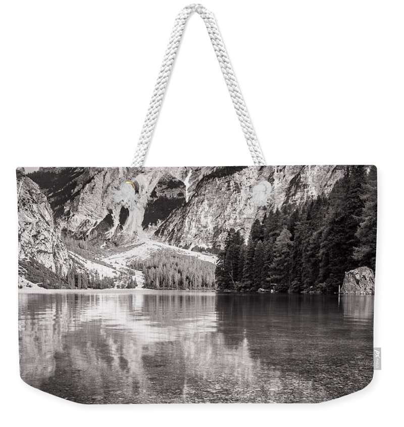 A Un Passo Dal Cielo Weekender Tote Bag featuring the photograph Lago Di Braies by Alfio Finocchiaro