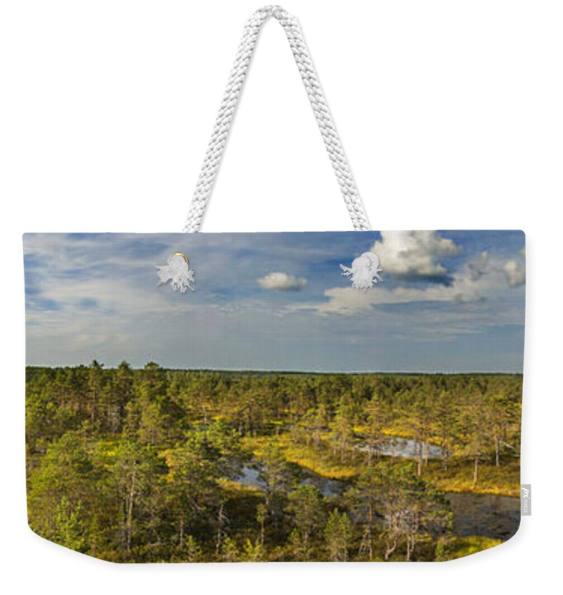 Panorama Weekender Tote Bag featuring the photograph Lahemaa Panorama From Above by Sandra Rugina