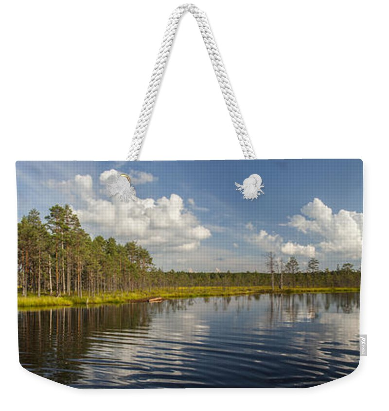 Panorama Weekender Tote Bag featuring the photograph Lahemaa Panorama by Sandra Rugina
