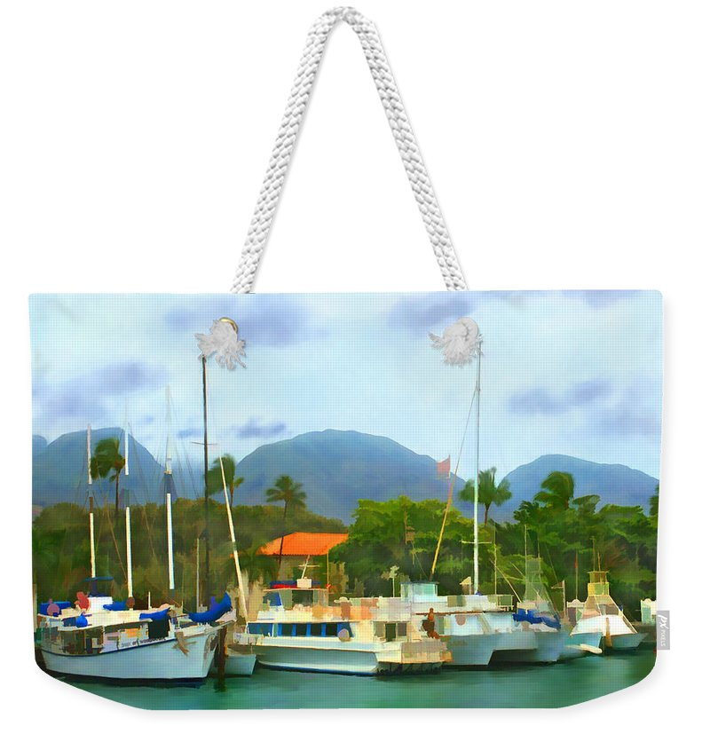 Lahina Weekender Tote Bag featuring the photograph Lahina Harbor by Kurt Van Wagner