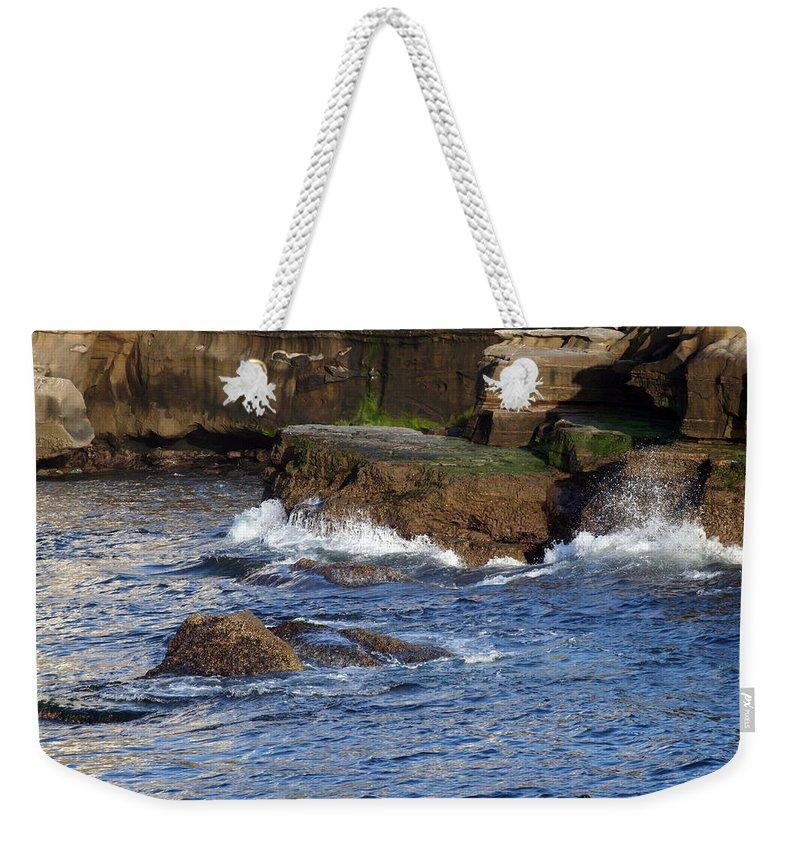 Ocean Weekender Tote Bag featuring the photograph Lajolla Rocks by Margie Wildblood