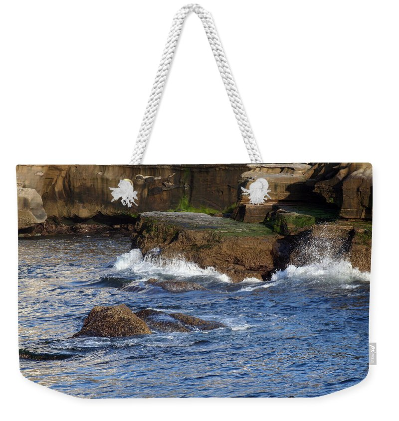 Ocean Weekender Tote Bag featuring the photograph LaJolla Rocks by Margie Wildblood