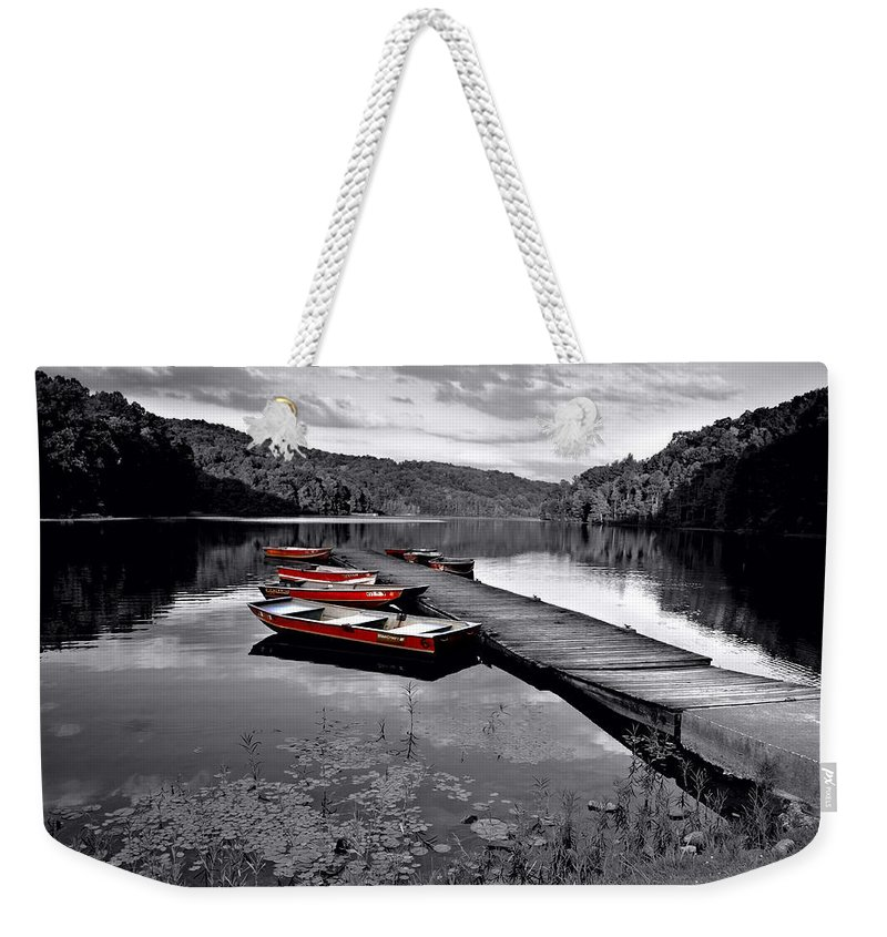 Black And White Weekender Tote Bag featuring the photograph Lake And Boats by Lj Lambert