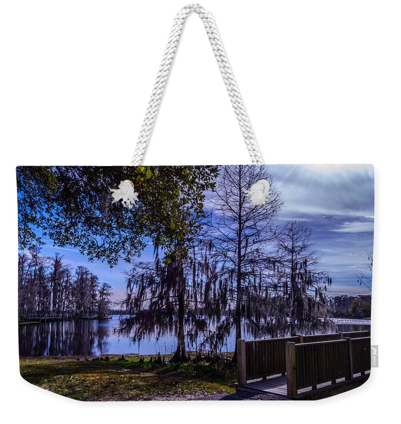 Water Weekender Tote Bag featuring the photograph Lake Bridge 1 by Leticia Latocki