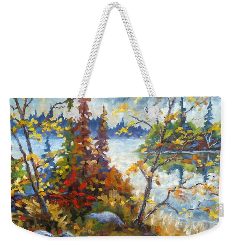 Trees Weekender Tote Bag featuring the painting Lake Cartier by Richard T Pranke