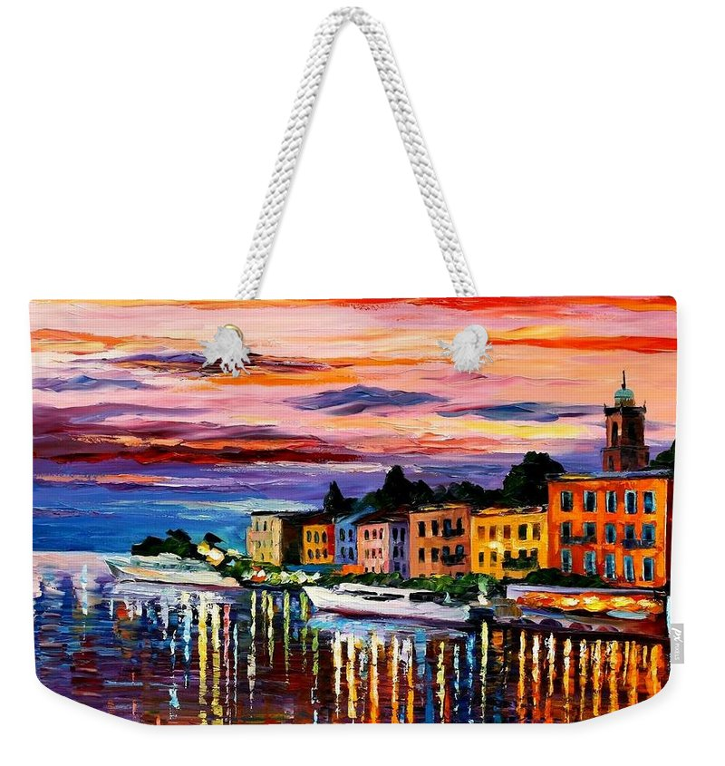Cityscape Weekender Tote Bag featuring the painting Lake Como - Bellagio by Leonid Afremov
