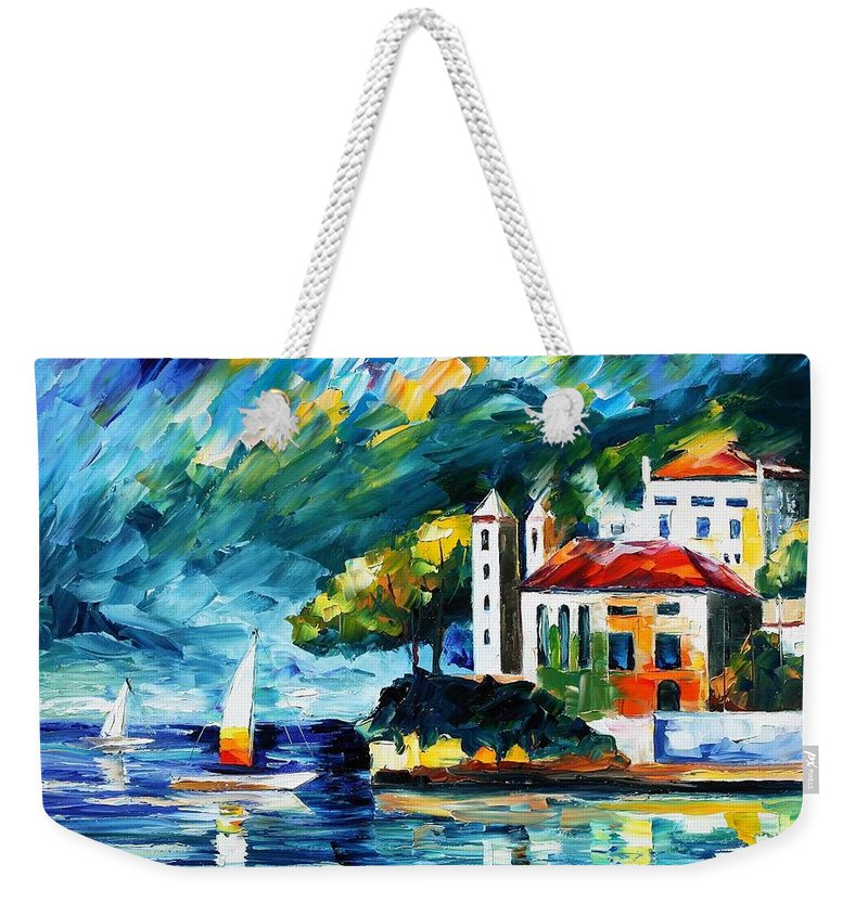 Afremov Weekender Tote Bag featuring the painting Lake Como Italy by Leonid Afremov
