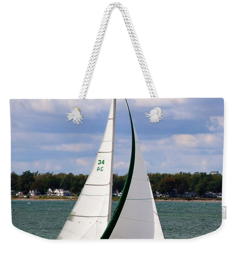 Boat Weekender Tote Bag featuring the photograph Lake Erie Sailing 8092 by Guy Whiteley