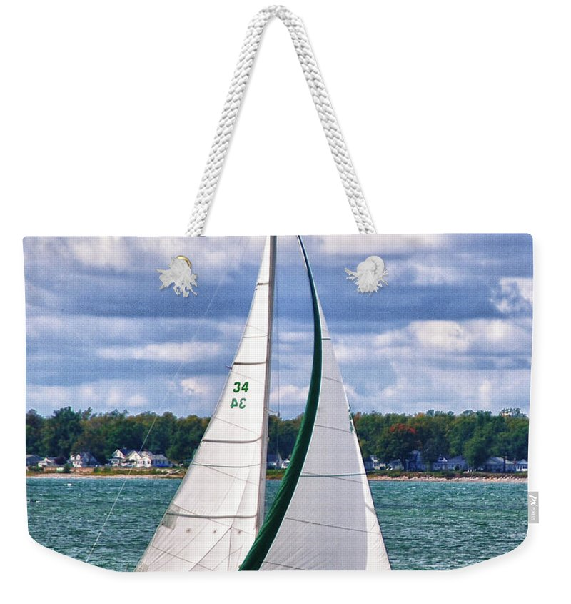 Boat Weekender Tote Bag featuring the photograph Lake Erie Sailing 8092h by Guy Whiteley